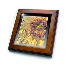 Framed Sunflower Reflection Art Flowers - Framed Tiles