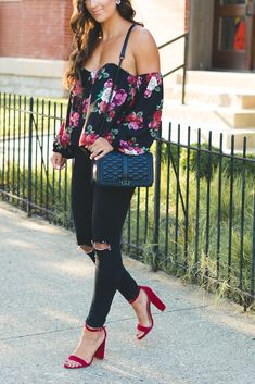 floral off the shoulder bustier top, floral top, fall floral outfit, steve madden carrson sandal, black distressed skinny jeans, rebecca minkoff love crossbody bag, fall fashion, fall style, baublebar ear jackets, transitional style, southern fashion blogger // grace wainwright a southern drawl