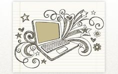 hand-drawn business laptop computer sketchy notebook doodles with swirls hearts and stars- vector illustration design elements on lined sketchbook paper background Notebook Doodles, Information Literacy, Business Laptop, Free Vector Graphics, Mandala Coloring, Digital Technology, Paper Background, Creative Design, Web Design