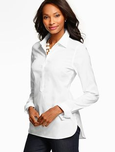 A crisp and classic white button down shirt goes a long way.
