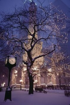 Russia, winter, cold, snow, trees, fuzzy or fluffy texture of the snow, white, brown, black, muted/pale orangey-yellow, dark blue/purple, pale pink, light yellow, orange, ice, branches make a feathery or lacey texture when there's ice on them, lamp posts, lights, clock post, building