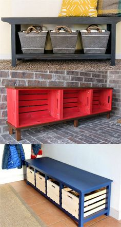 diy bank 21 beautiful DIY benches for every room. Great tutorials on how to build benches easily out of concrete blocks, or even old headboards and dressers. - A Piece of Rainbow entryway ideas declutter my house farmhouse decor Crate Bench, Diy Wood Bench, Wood Benches, Wood Table, Entry Bench Diy, Diy Bench Seat, 2x4 Wood, Bench Decor, Indoor Outdoor