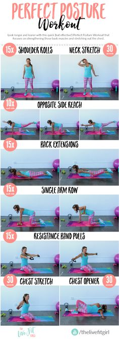 The Perfect Posture Workout – Look taller and thinner with these 8 exercises! The Perfect Posture Workout – Look taller and thinner with these 8 exercises! Posture Fix, Bad Posture, Improve Posture, Posture Stretches, Dance Stretches, Fitness Workouts, Yoga Fitness, At Home Workouts, Fitness Routines