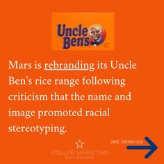 Mars is rebranding its Uncle Ben's rice range following criticism that the name and image promoted racial stereotyping. Corporate Design, Uncle Ben, New Market, Marketing, Mars, Promotion, Rice, Business, Things To Do