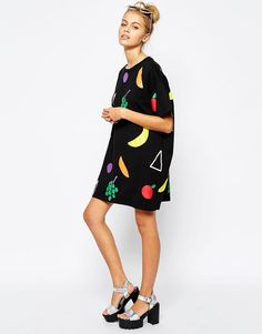 Lazy Oaf | Lazy Oaf Oversized T-Shirt Dress With Big Fruit Print at ASOS