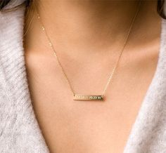 Bar Necklace Engraved Necklace Gold Filled Rose by BlushesAndGold Custom Name Necklace, Love Necklace, Initial Necklace, Bar Necklace, Chain Necklaces, Engraved Necklace, Personalized Necklace, Or Rose, Rose Gold