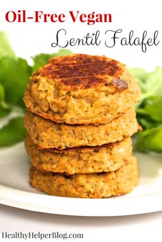 Oil-Free Vegan Lentil Falafel Recipe on Yummly. Falafels, Vegetarian Recipes, Healthy Recipes, Healthy Food, Vegan Food, Red Lentil Recipes, Yummy Food, Lentil Patty, Vegan Dinners
