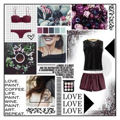 """dark lips cherry kiss"" by holly-elizabeth ❤ liked on Polyvore featuring J.Crew, H&M and MAC Cosmetics"