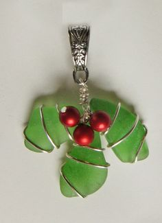 Sea Glass Christmas Holly Pendant by oceansbounty on Etsy, $12.00