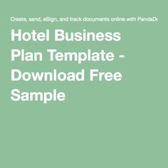 Hotel Business Plan Template - Download Free Sample