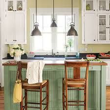 Love the green beadboard and the pendant lights.