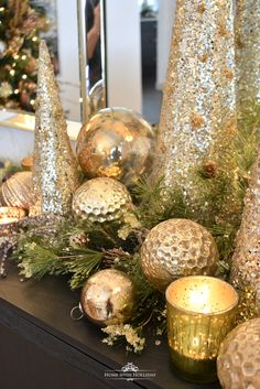 Simple Silver and Gold Glam Christmas Centerpiece - Home with Holliday . Simple Silver and G Rose Gold Christmas Decorations, Christmas Tablescapes, Christmas Mantels, Christmas Centerpieces, Xmas Decorations, Gold Christmas Ornaments, Christmas Lights, Christmas Wreaths, Classy Christmas