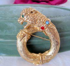 Panther Cat Brooch Rhinestone Gold Tone Pin
