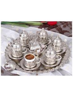 Lüx Otantik Osmanlı Motifli MIRRA 6 Kişilik Kahve Seti - 8 Parça-Gümüş