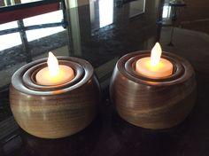 Walnut tea light holders
