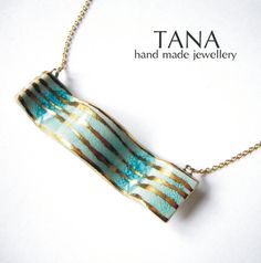 Ceramic necklace wave turquoise with gold.Collier by Tanaart