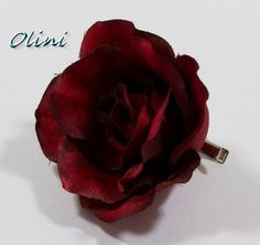 Deep Burgundy Rose Hair Flower Bobby Pin / Comb / by OliniFloral, $16.00