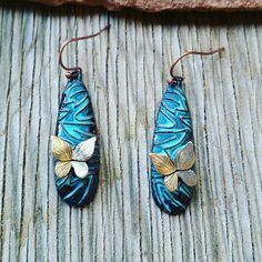 Patina Turquoise Butterfly Earrings