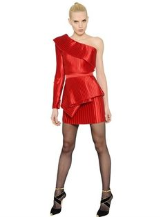 $4,000, Balmain One Shoulder Ruffled Plisse Satin Dress. Sold by LUISAVIAROMA. Click for more info: https://lookastic.com/women/shop_items/377718/redirect
