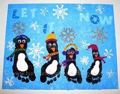 """{Let It Snow Penguins}... Paint canvas blue then blot with paper towel... Black footprints... """"let it snow"""" letters, foam snowflakes... decorate penguins by delia"""