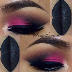 """DarkLove!"" - beautiful true pink on eyelid blended into a black shadow in v area. light brown in and above crease area with a black lip."
