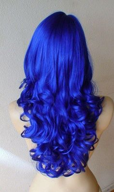 Blue wig Long curly wig with blue hair. Hair Dye Colors, Hair Color Blue, Cool Hair Color, Bright Blue Hair, Blue Colors, Frontal Hairstyles, Wig Hairstyles, Layered Hairstyles, Long Curly Hair