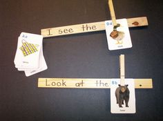 Paint Stick Sentences - For this center all you need is blank paint sticks and small picture flash cards. I got my sticks at Home Depot. Write simple sentence frames on the paint sticks. Using flash cards the students complete the sentence. The students can copy the sentences onto paper.