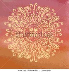 Hand drawn oriental pattern on grunge watercolor backdrop. Vintage indian background by Annareichel, via Shutterstock