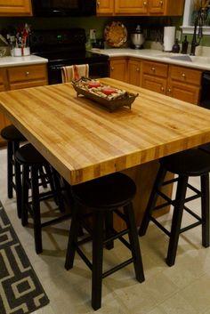 Kitchen Island Dining Table, Kitchen Island With Seating, Diy Kitchen Island, New Kitchen, Kitchen Small, Rustic Kitchen, Kitchen Ideas, Diy Butcher Block Countertops, Kitchen Countertops