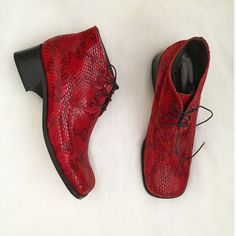 Vintage Red Snakeskin Henry Ferrera Shoes Vintage red unisex snakeskin print lace up shoes by Henry Ferrera - Made in Italy. Women's size 10, but runs a little small and narrow. Only worn once, which can be seen in the second picture, but still in great condition. Please feel free to ask questions below! Henry Ferrera Shoes