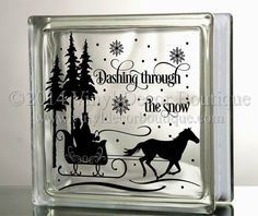 over the river through the woods horse sleigh glass block decal tile mirrors diy decal for christmas glass blocks horse and sleigh - Christmas Decals For Glass