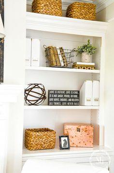 STYLING BOOKSHELVES WITHOUT USING BOOKS - StoneGable Styling Bookshelves, Bookcase, Bookshelf Decorating, George House, Corner Shelves, Used Books, Floating Shelves, Home Improvement, Shelving Decor