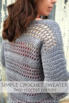 Simple Crochet Sweater Pattern Simple Crochet Sweater Pattern - Making your own sweaters is easier than you might think! Just start with 2 rectangles and add some sleeves! Gilet Crochet, Crochet Cardigan Pattern, Crochet Shirt, Crochet Sweaters, Crochet Top, Crochet Stitches Patterns, Knitting Patterns, Sewing Patterns, Crochet Capas
