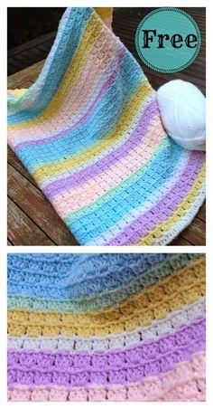 Block Stitch Baby Blanket Free Crochet Pattern