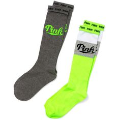 PINK Knee Socks ($13) ❤ liked on Polyvore featuring intimates, hosiery, socks, colorful socks, cotton socks, knee hi socks, knee-high socks and multi color socks