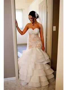 Elegant Lace 2016 Mermaid Wedding Dress Tiered Open Back Strapless Wedding Gowns BA1540