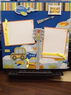 baby boy scrapbook page ideas | love this BoBunny line for little boys, super cute colors!