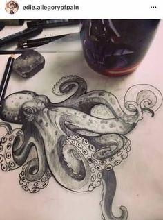 Resultado de imagen para octopus drawing tattoo #TattooIdeasDibujos