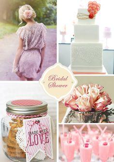 Inspirações para chá de panela, conhecido lá fora como Bridal Shower. Montagem linda do Wedding Wire!