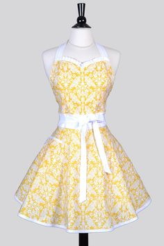 Sweetheart Womens Retro Apron - Yellow and White Damask Cute Flirty Vintage Inspired Womans Kitchen Pin Up Apron with Pockets by CreativeChics on Etsy