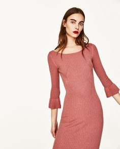Image 2 of RIBBED DRESS WITH FLARED CUFFS from Zara