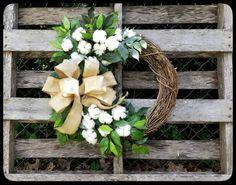 Cotton Wreath, Burlap Bow Wreath, Front Door Wreath, Fixer Upper Decor, Cotton Boll Wreath, Rustic Wreaths, Farmhouse Wreath, Wedding Wreath by SouthernThrills on Etsy https://www.etsy.com/listing/463802997/cotton-wreath-burlap-bow-wreath-front
