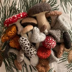 Close-up of some of the shrooms I knitted to decorate our tree this year :) - mycology Knitting Projects, Crochet Projects, Knitting Patterns, Craft Projects, Crochet Patterns, Free Knitting, Cute Crochet, Crochet Crafts, Knit Crochet