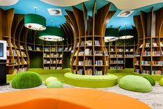 Bayside City Council - Rockdale Library by CK Design International in association with Leffler Simes Architects and Stevenson and Turner Design. Public Library Design, Bookstore Design, School Library Design, Kids Library, Library Architecture, School Architecture, Architecture Design, Kindergarten Interior, Kindergarten Design