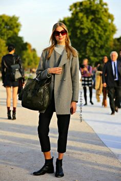 soft greys. #ElisabethErm #offduty in Paris.