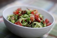 Zucchini Pasta with sun-dried tomatoes, edamame, cherry tomatoes and as the star of the dish, hemp pesto