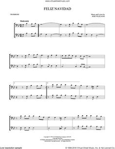 Feliciano - Feliz Navidad sheet music for two trombones (duet, duets) Easy Sheet Music, Music Sheets, Trombone Sheet Music, Piano Sheet Music, Christmas Sheet Music, Song List, Musical Instruments, Songs, Sheet Music