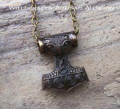 MJÖLNIR Viking Thor's Hammer Antique Brass by ArtisanWitchcrafts