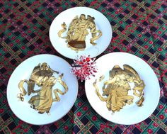 Christmas Angels 3 Plates Musical Luxe Gold Angels Different Salad Dessert Luncheon Plates 1980s