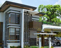 Alvarez Residence on Behance Modern Zen House, Best Modern House Design, Minimalist House Design, Modern House Plans, Small House Plans, 2 Storey House Design, Duplex House Design, House Front Design, Small House Design